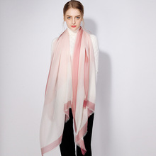 上海故事秋冬100羊絨圍巾女 素色山羊絨保暖披肩年會禮品一件代發