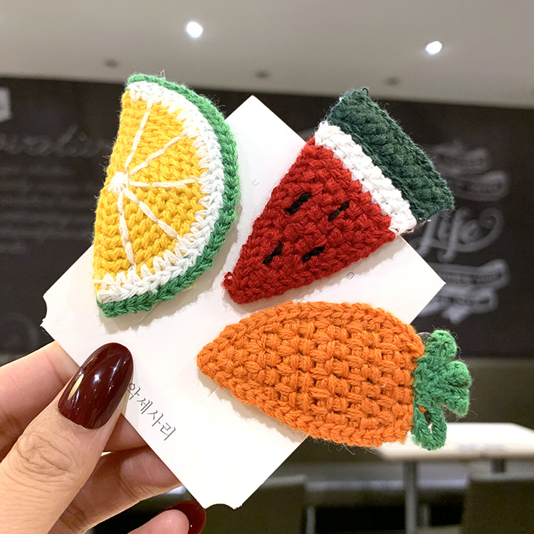 Autumn and winter wool knitted fruit hairpin girls hairpin clip headdress Korean cute hair accessories edge clip NHSA201209