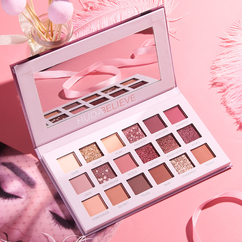 Net Red Explosion Eye Shadow Disk Huda Perfect Desert Rose Vibrating Live Diary Beauty Makeup 18 Color Pearl Eye Shadow