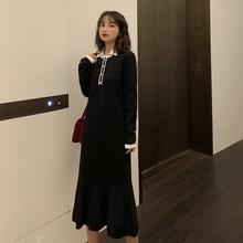 實拍 秋冬Polo領黑色裙子收腰顯瘦氣質連衣裙 甜美保暖針織打底衫