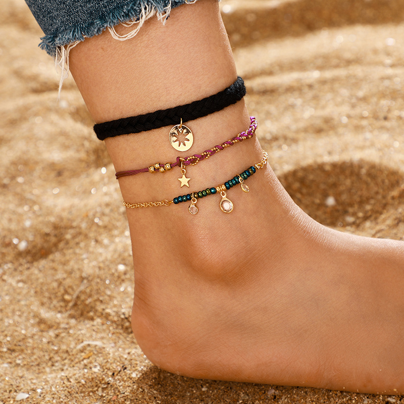 New Accessories Alloy Twist Disc Star Diamond Tassel Anklet Cover Wholesale NHGY201014