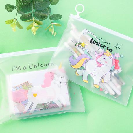 Hồng cô gái trái tim túi bút chì túi lưu trữ túi văn phòng phẩm Học sinh dễ thương túi bút chì A5 dung lượng lớn túi tập tin Unicorn