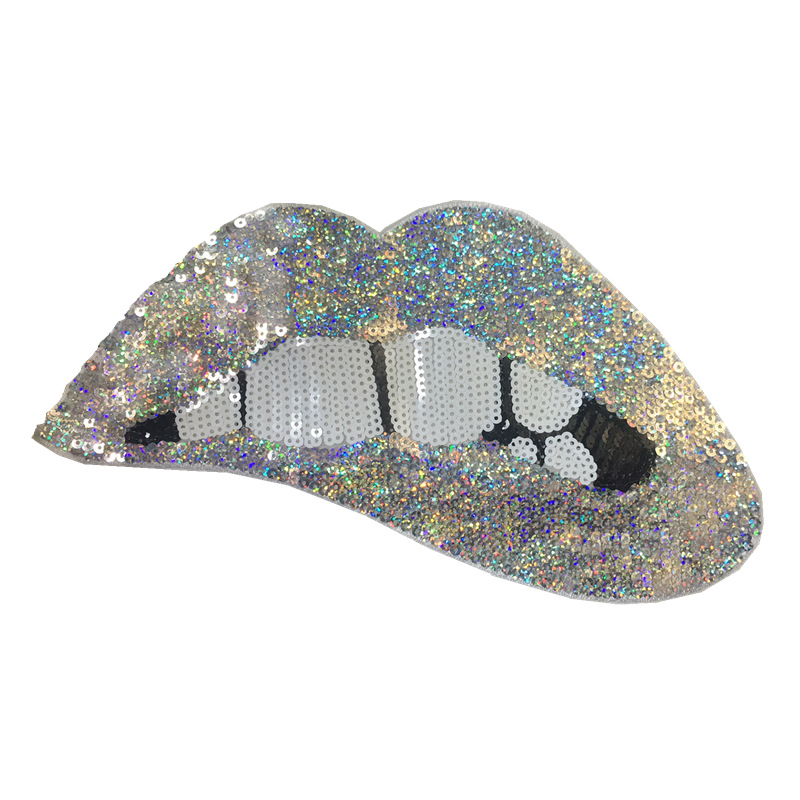 Fashion bright sequins lips cloth embroidered patch NHLT148263
