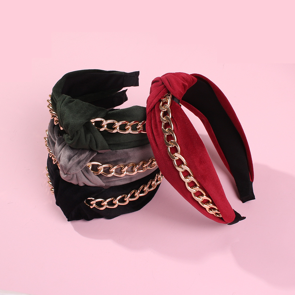 New hair accessories punk chain knotted twisted wide side hair hoop NHMD185007