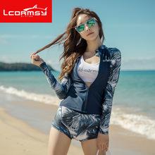 韩国户外潜水服女分体长袖套装防晒服速干水母衣浮潜冲浪服泳衣