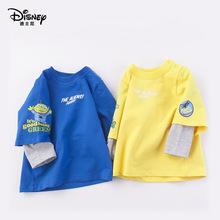 迪士尼童裝男童假兩件衛衣兒童春季新款潮酷長袖上衣萌趣卡通T恤