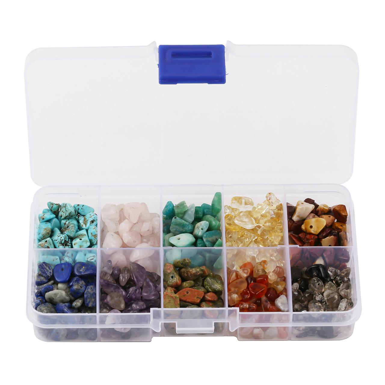 4-8mm碎石天然石 紫晶粉晶黄水晶青金石10色10格盒装组合跨境专供