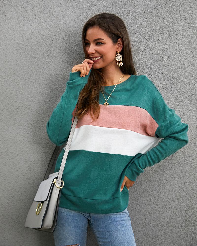 fashion ladies sweater wild striped sweater NSKA8508