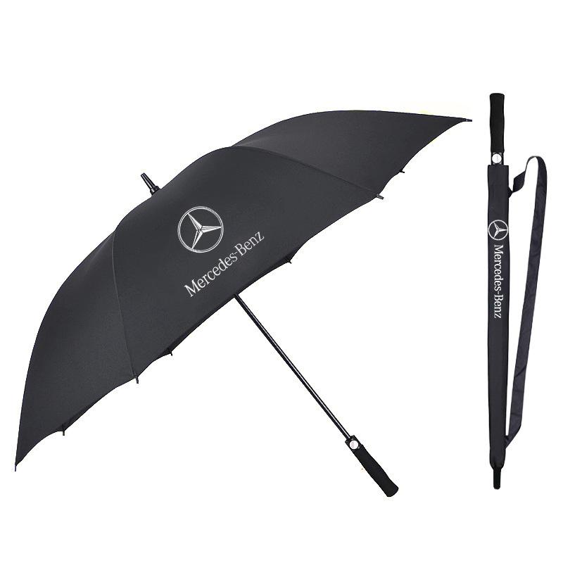 全纖維加大抗風直桿高爾夫傘 現貨奔馳4S店汽車專供車標雨傘批發