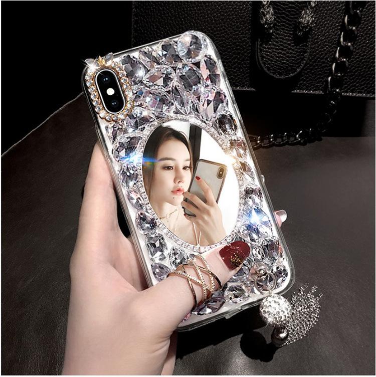 iphone12pro手机壳女款苹果8/7全包硅胶11镶钻镜子透明流苏适用XR