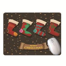 卡通圣诞袜圣诞?#20808;搜?#33457;礼物精品鼠标垫