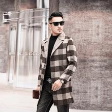 外贸高端双面羊绒中长款格子呢大衣男时尚19冬装新款尼子羊毛外套