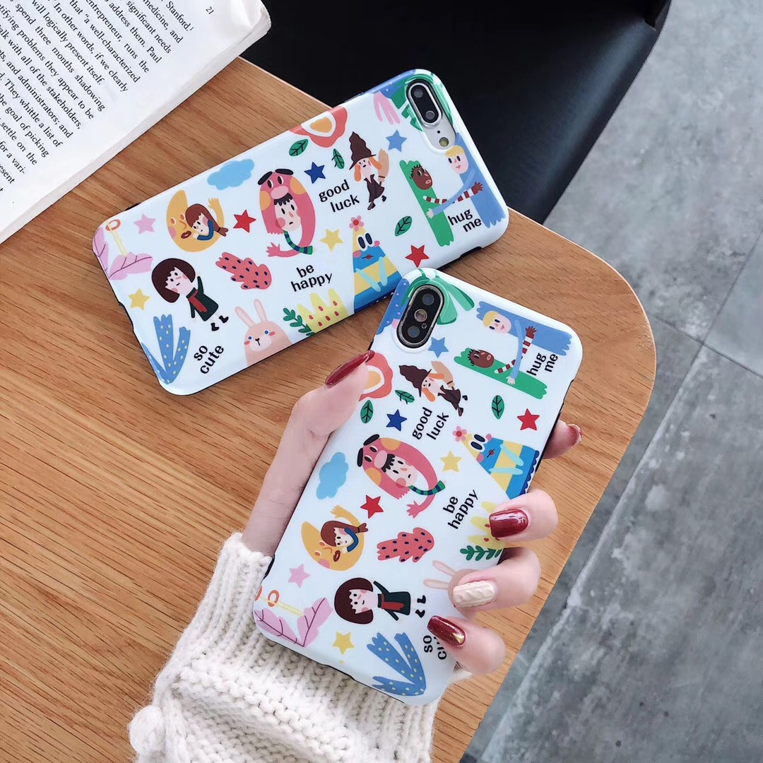 Japanese and Korean personality graffiti girl apple for iPhone8/6sp mobile phone shell 7plus protective cover soft creative models