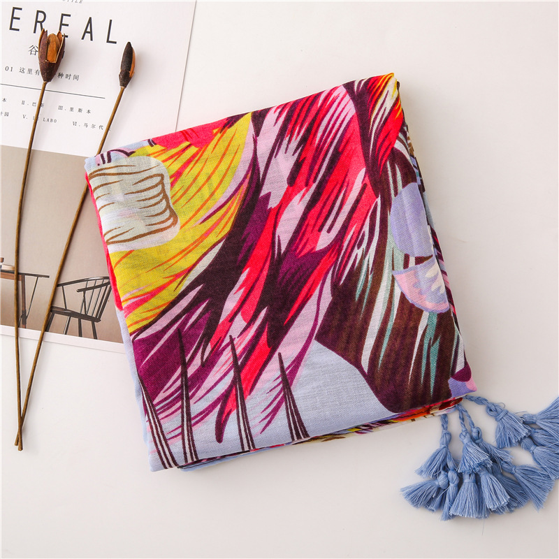 Cotton and linen scarves flowers and birds print travel beach towel tassels sunscreen shawl scarves shawl scarf women NHGD175776