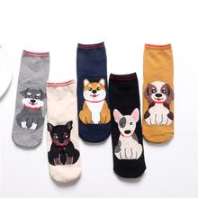 春秋新款二条杠卡通宠物狗女袜子韩版立体个性欧美风原创棉袜批发