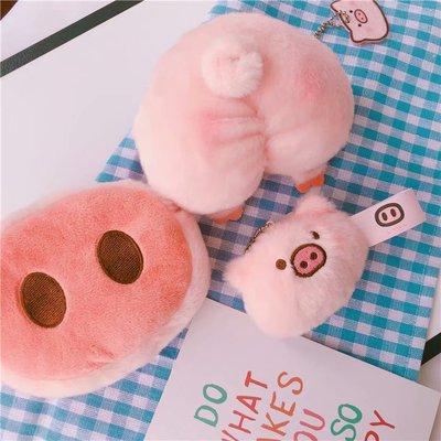 新款小猪斜挎包可爱粉色毛绒绒少女心单肩包包零钱包