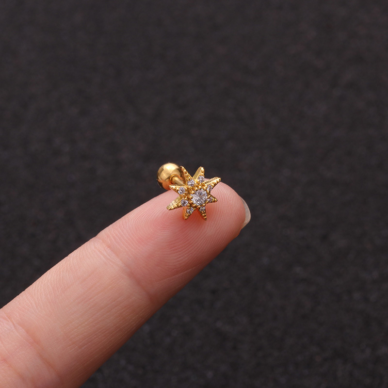 Hot Selling Zircon  Stainless Steel Ear Bone Nails  Micro Inlaid Sunflower Screw earrings  Wholesale NHEN253448