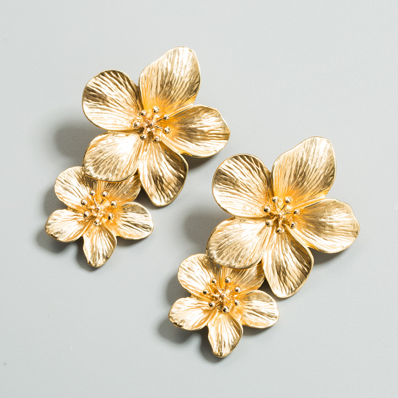 Fashion alloy double flower earrings NHLN150804