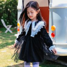 女童連衣裙子長袖真兔毛領蕾絲公主裙2019新款秋裝網紗裙