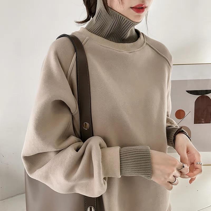 冬季新款港味chic半高领套头卫衣女加绒宽松慵懒风上衣加厚外套潮