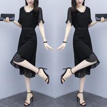 雪纺连衣裙女2019夏季新款韩版高端气?#24066;?#30702;个?#37038;?#33136;显瘦小黑裙子