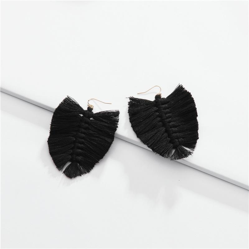 Fashion cotton su-leaf woven earrings NHLU145913