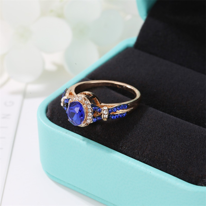 Explosion ring blue zircon diamond ring NHCU194946