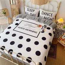 新款親膚絨保暖四件套韓國大版卡通波點寶寶絨親膚法萊絨套件床笠