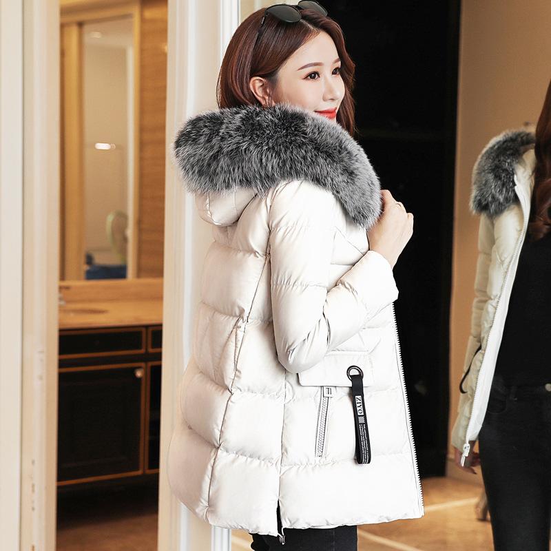 2019冬装新款PU皮羽绒棉衣女中长款外套矮个子韩版小棉袄修身棉服