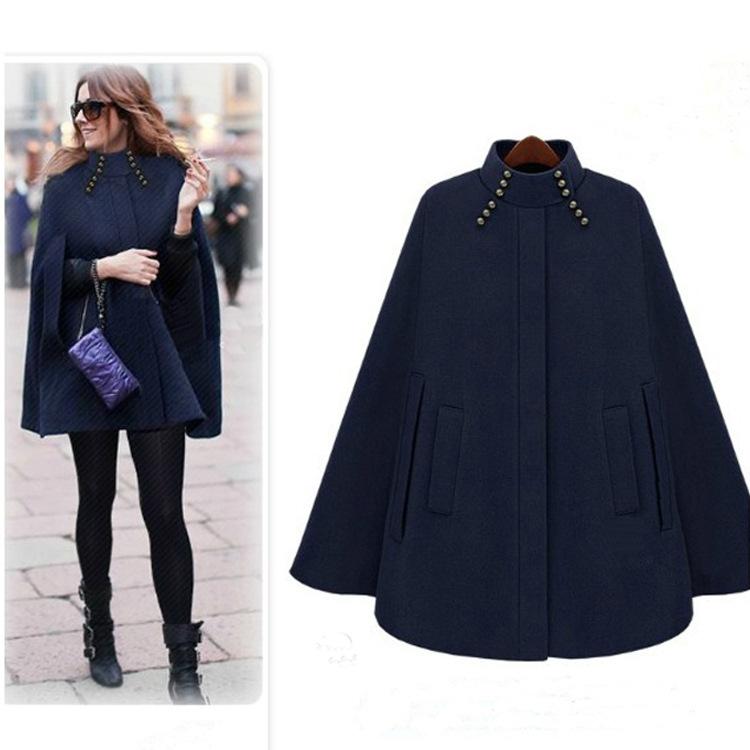 秋冬新款女装斗篷  欧美风范时尚帅气蓝色驼色披肩大衣中长款外套