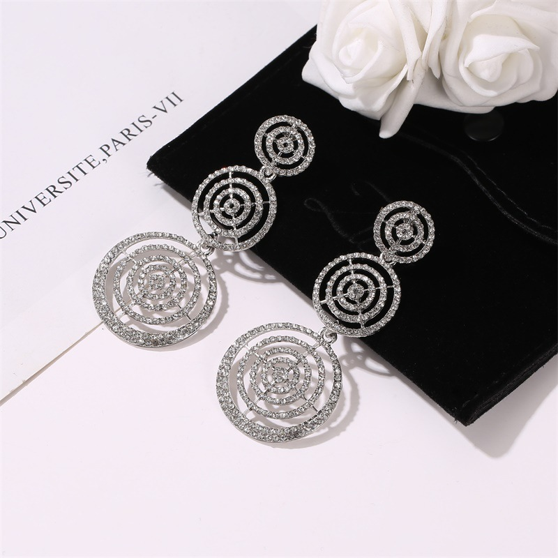wholesale new earrings exaggerated full diamond multilayer circle earrings female long round hollow earrings NHDP185737