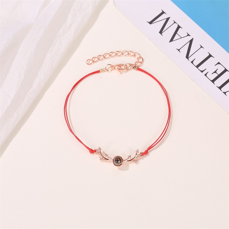 Couple bracelet creative 100 languages i love you simple red rope antlers bracelet NHDP185753