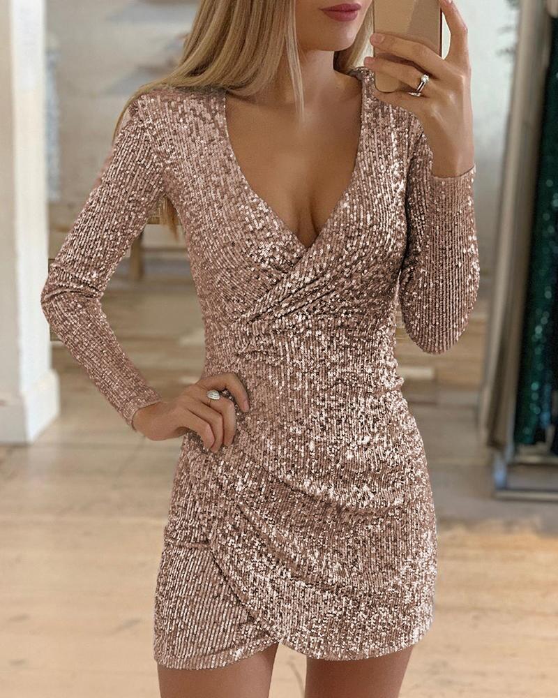 new autumn clothes sexy v-neck bag hip irregular short skirt sequin dress NSYF1109