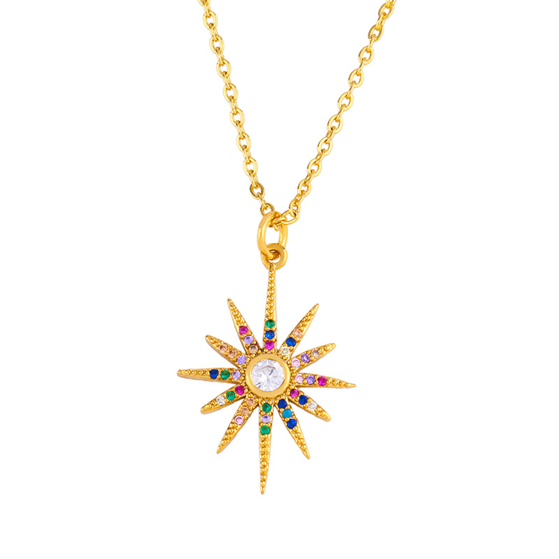 Shining stars, moon, colored zircon, European and American pendant necklace NHAS177644