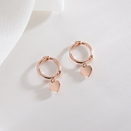 S925 silver ear buckle female fashion simple love earrings mini ear bone nail heart-shaped earrings jewelry earrings