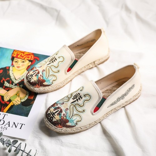 Hanfu shoes old Beijing cloth shoes chinese kungfu Flat Face Embroidered Canvas Unisex Single Shoes for Men and Women