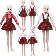 60cm娃娃衣服 时尚服装裙子 3分BJD娃娃换装时尚衬衫格子套装