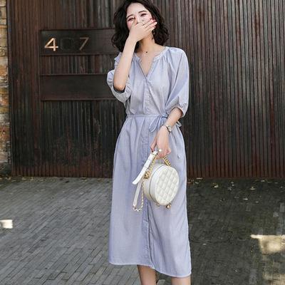 长袖连衣裙2019年夏季显瘦修身百搭潮流简约个性时尚翻领慵懒风