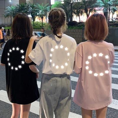 韩版亮闪闪反光短袖T恤女夏2019新款学生宽松嘻哈个性体恤上衣潮