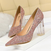 9217-1 European and American fashion transparent crystal heel thick heel high heel shallow pointed sexy nightclub shining Sequin single shoes