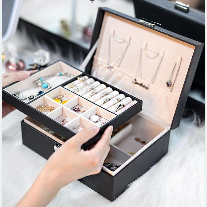 双层大容量PU首饰盒便携皮质珠宝首饰收纳盒项链戒指手表首饰盒子