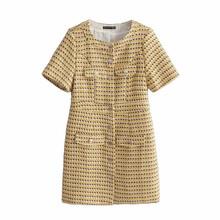 外貿2019歐美秋新款女裝明星同款圓領短袖金屬扣針織修身連衣裙女