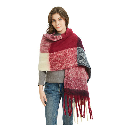 Circle sand tassels big grid horizontal plaid scarf shawl and neck