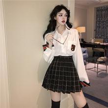 网红套装早春女洋气韩版拼接长袖宽松衬衫+高腰百褶半身裙两件套