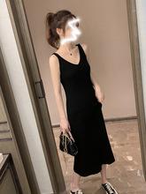 2019秋裝新款V領中長款針織裙背心吊帶長裙女黑色性感打底裙洋氣