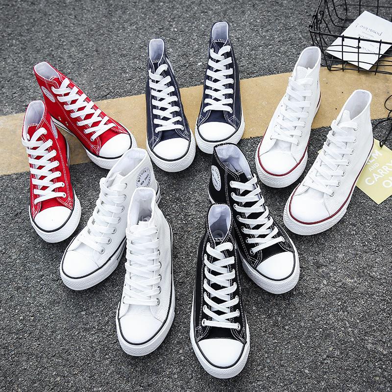2020春季高幫帆布鞋女休閑鞋子基本款膠鞋情侶款韓版學生鞋子潮