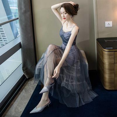 连衣裙夏2019性感双v领露背吊带裙高腰修身气质超仙中长款网纱裙