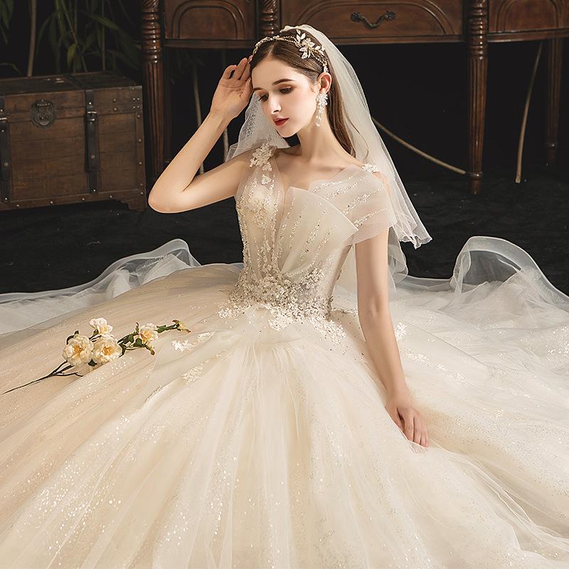 森系法式主婚纱2020新款新娘结婚公主拖尾小个子超仙时尚婚纱