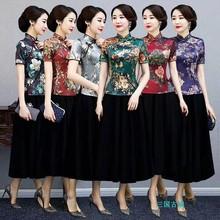 丝绸旗袍上衣夏装妈妈改良唐装女套装两件套中国风复古中式短款