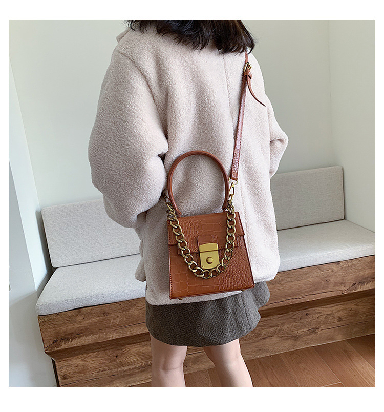 Fashion crocodile pattern chain handbag women's new simple lock solid color messenger shoulder small square bag NHPB183073